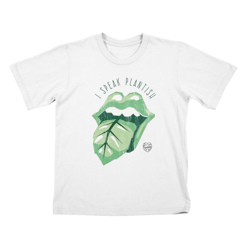 "Tongue ""I speak plantish"" Kids T-Shirt by Mee Schmid Plantlady Shop"