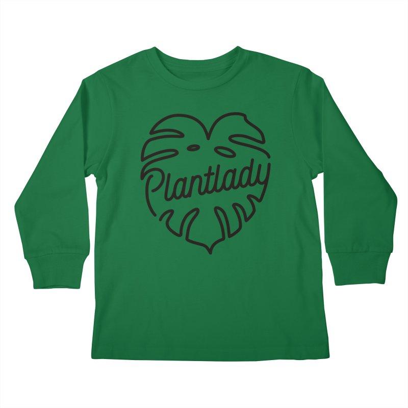 Plantlady Logo Black Kids Longsleeve T-Shirt by Mee Schmid Plantlady Shop
