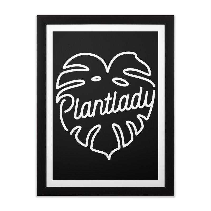 Plantlady Logo White Home Framed Fine Art Print by Mee Schmid Plantlady Shop