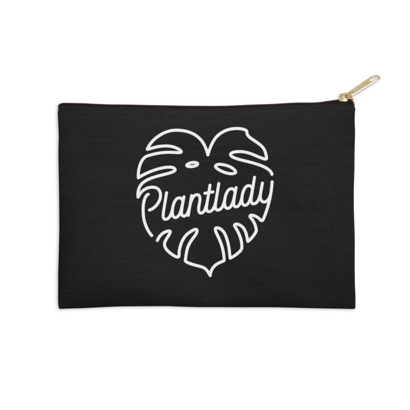 Plantlady Logo White Accessories Zip Pouch by Mee Schmid Plantlady Shop