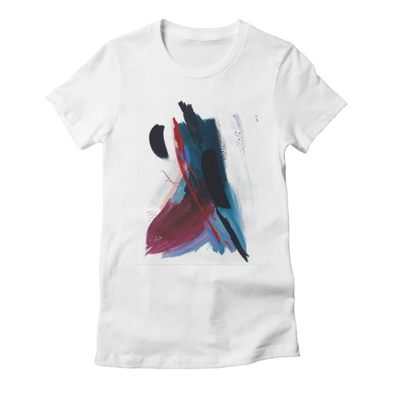 Reflections in the Swimming Pool During a Thunderstorm Women's Fitted T-Shirt by Megan Krzmarzick Abstract Artist