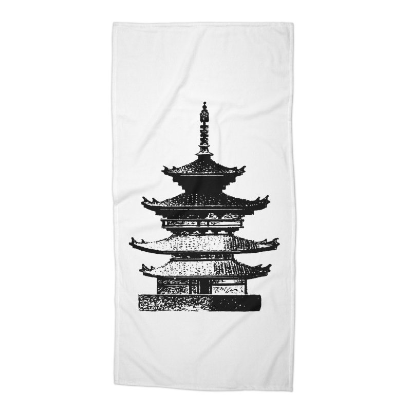 Pagoda Accessories Beach Towel by megatrip's Artist Shop