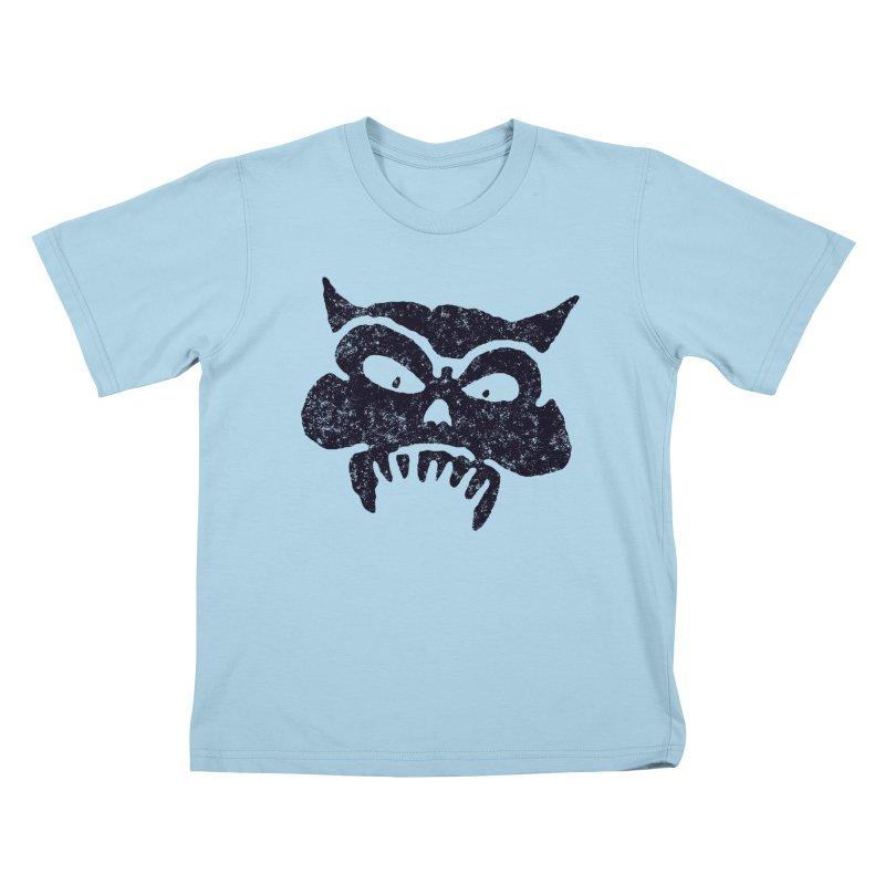 Battered Demon Skull v1 Kids T-Shirt by megatrip's Artist Shop