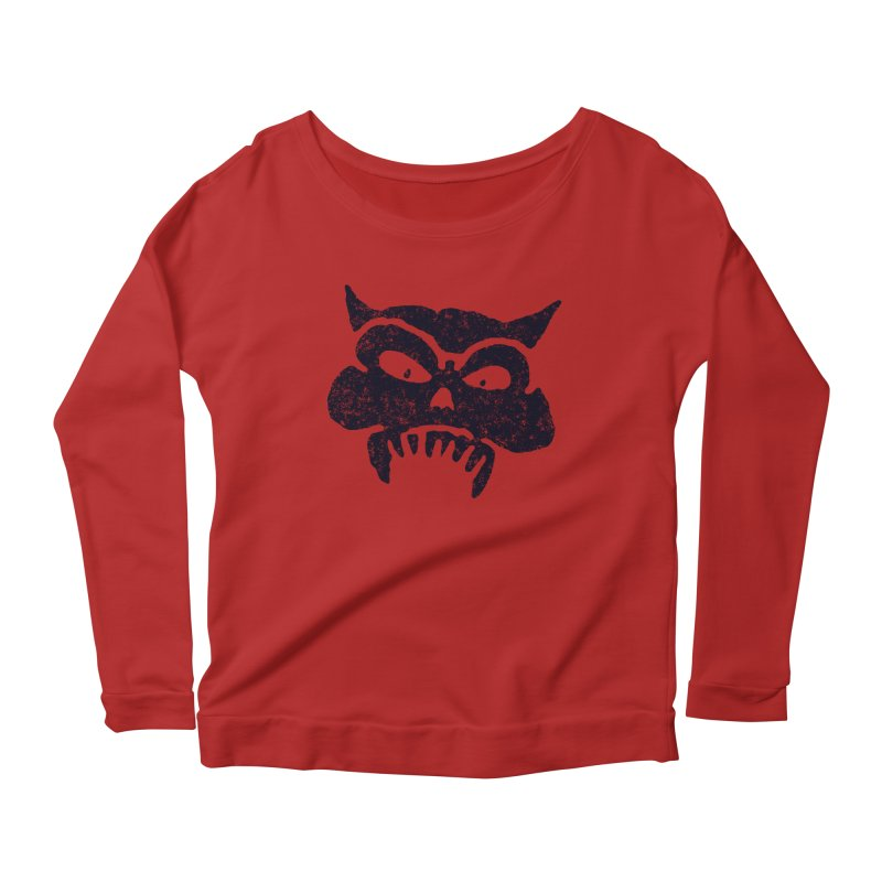 Battered Demon Skull v1 Women's Longsleeve Scoopneck  by megatrip's Artist Shop