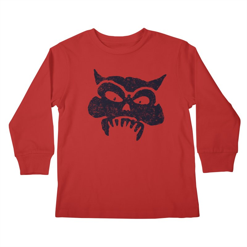 Battered Demon Skull v1 Kids Longsleeve T-Shirt by megatrip's Artist Shop