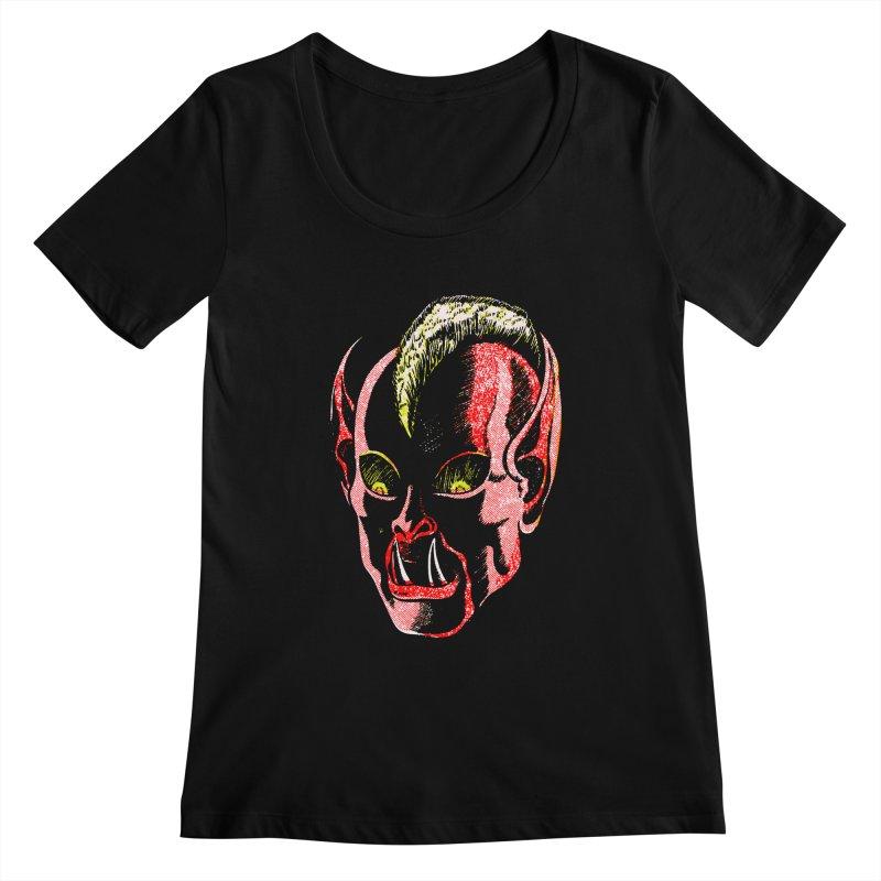Haunted Head v1 Women's Scoopneck by megatrip's Artist Shop