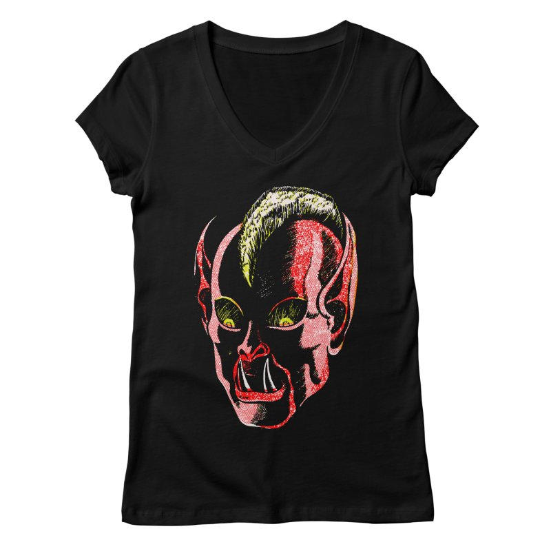 Haunted Head v1 Women's V-Neck by megatrip's Artist Shop