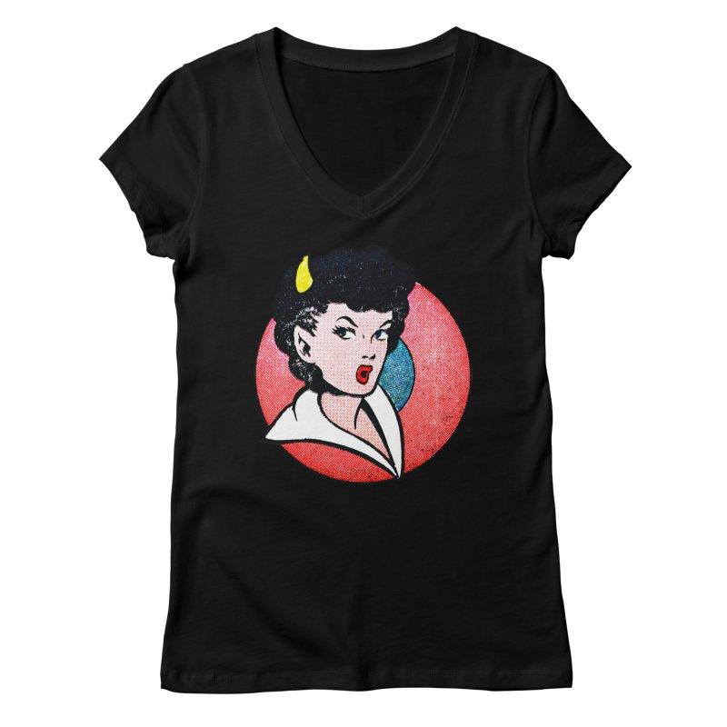 Devil Girl Women's V-Neck by megatrip's Artist Shop