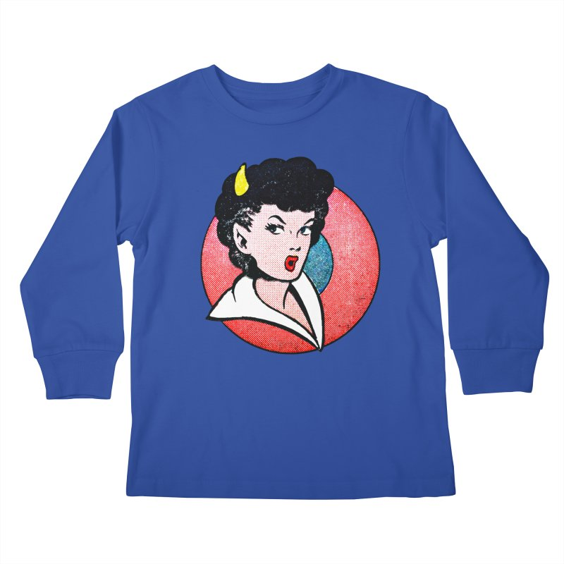 Devil Girl Kids Longsleeve T-Shirt by megatrip's Artist Shop