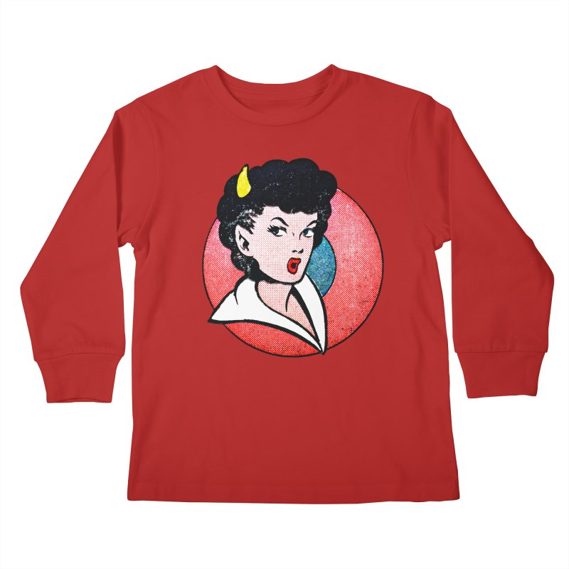 Devil Girl Kids Longsleeve T-Shirt by megatrip's Artist Shop
