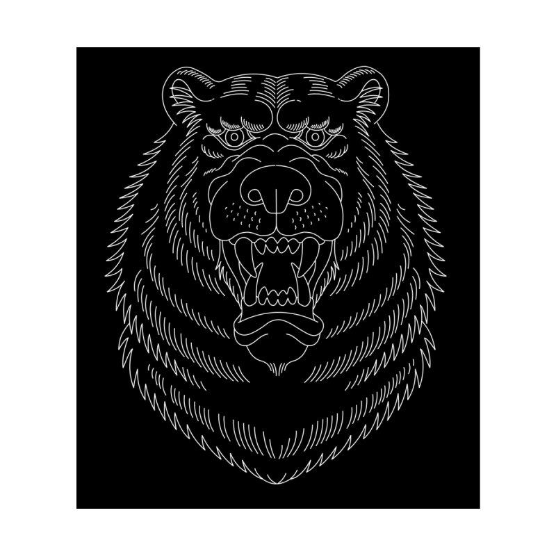 Bear White Line Graphic None  by Wild Wilderness Artist Shop