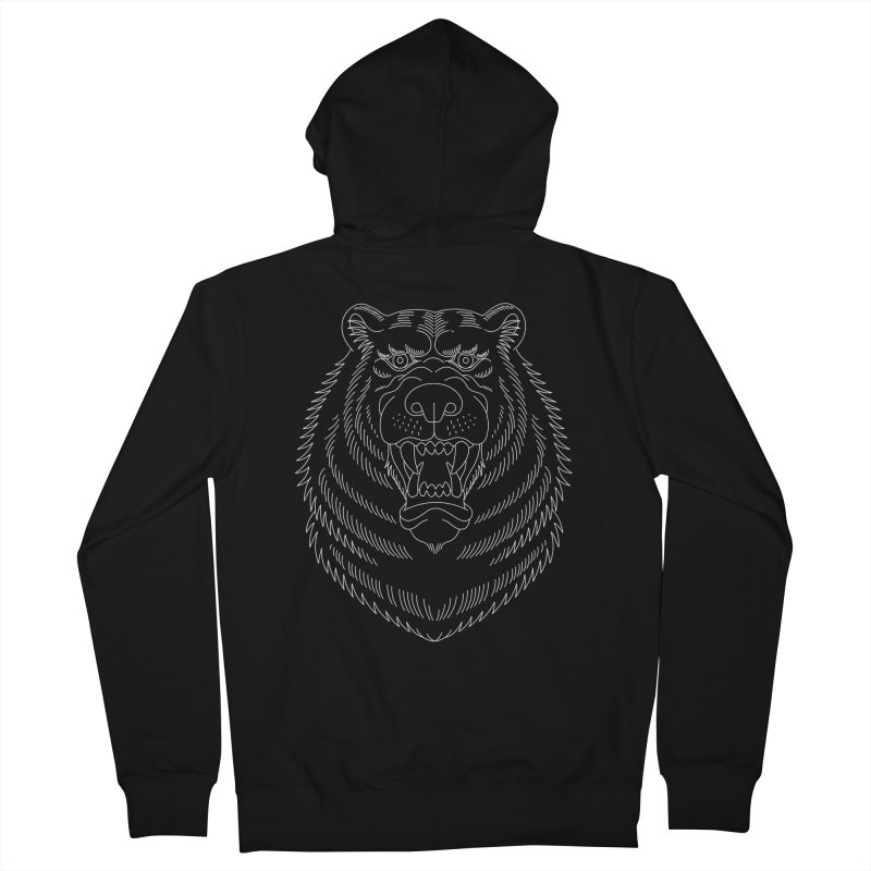Bear White Line Graphic Men's Zip-Up Hoody by Wild Wilderness Artist Shop