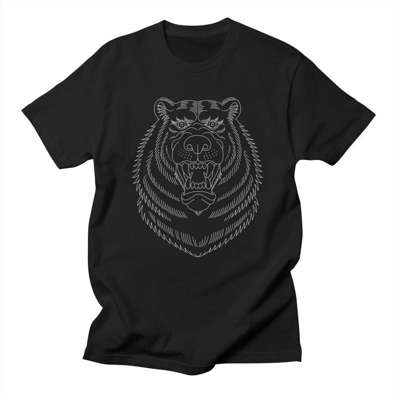Bear White Line Graphic Men's T-Shirt by Wild Wilderness Artist Shop