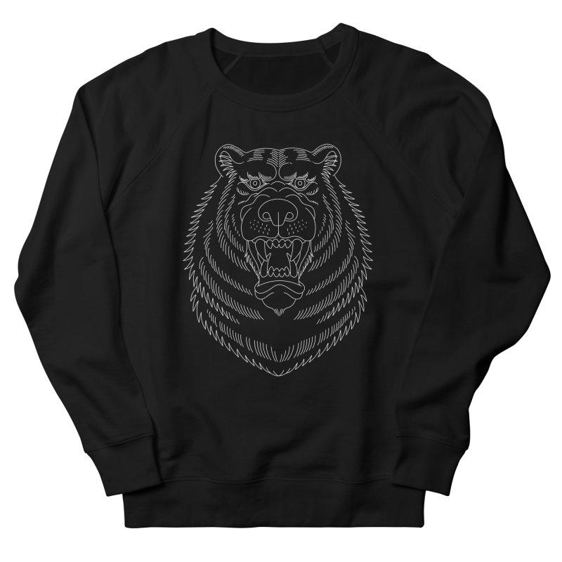 Bear White Line Graphic Women's Sweatshirt by Wild Wilderness Artist Shop