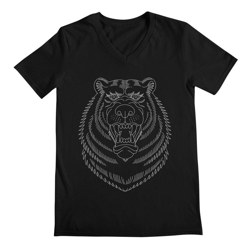 Bear White Line Graphic Men's V-Neck by Wild Wilderness Artist Shop