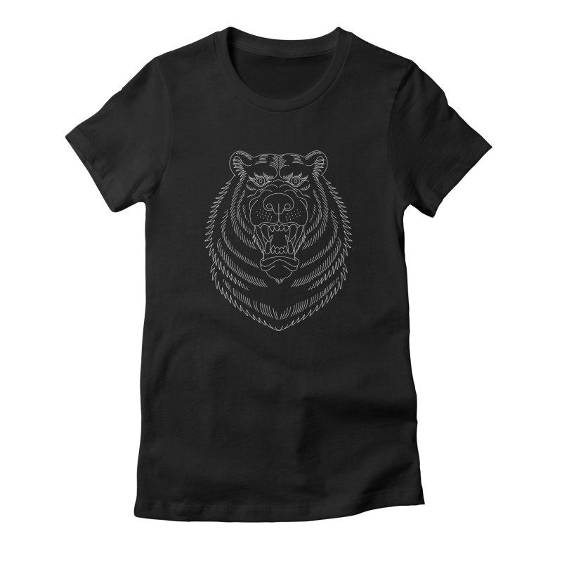 Bear White Line Graphic Women's Fitted T-Shirt by Wild Wilderness Artist Shop