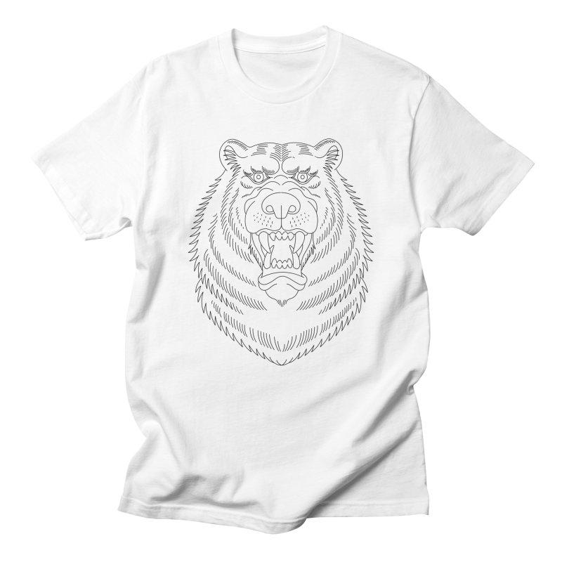 Bear Black Line Graphic Men's T-Shirt by Wild Wilderness Artist Shop