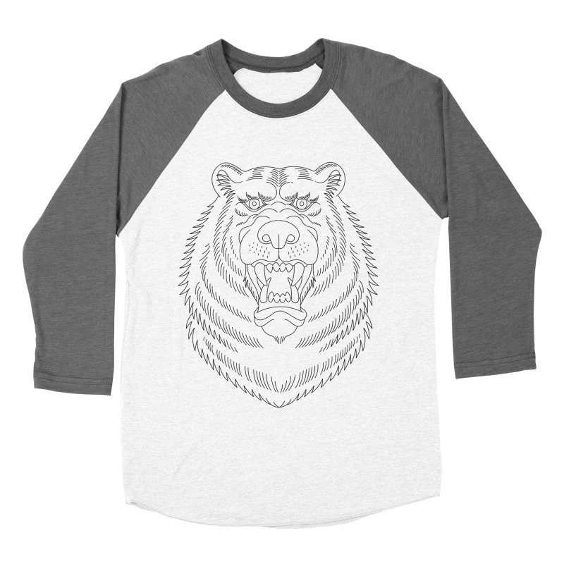 Bear Black Line Graphic Women's Baseball Triblend T-Shirt by Wild Wilderness Artist Shop