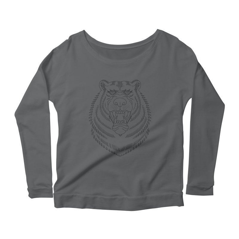Bear Black Line Graphic Women's Longsleeve Scoopneck  by Wild Wilderness Artist Shop