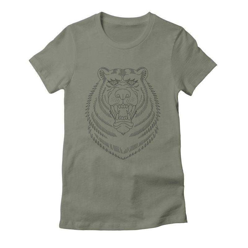 Bear Black Line Graphic Women's Fitted T-Shirt by Wild Wilderness Artist Shop