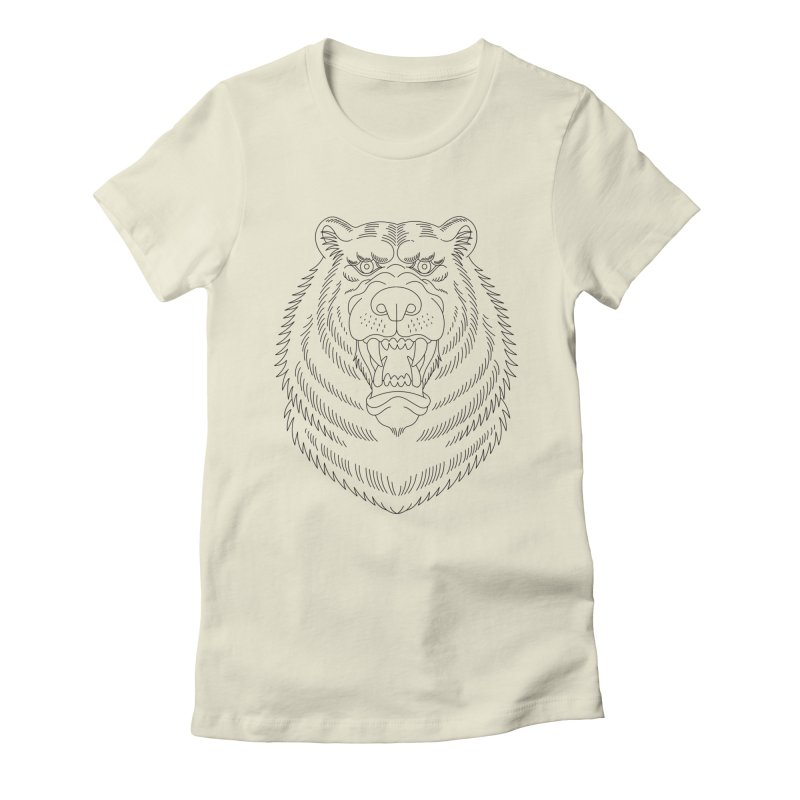 Bear Black Line Graphic Women's Fitted T-Shirt by Wild Wilderness Artist Shop