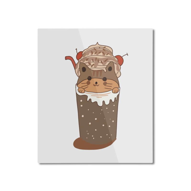 cat in a cofffee cup Home Mounted Aluminum Print by meisanmui's Artist Shop
