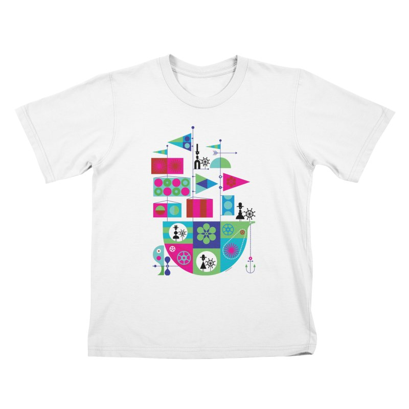Geometric Pirate Ship in Kids T-Shirt White by melindabeck's Artist Shop