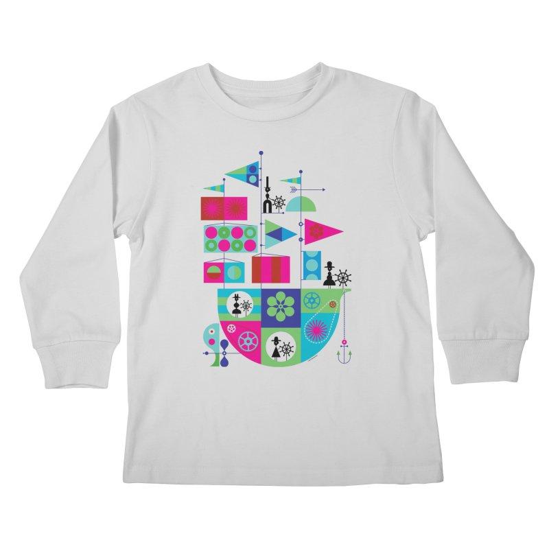 Geometric Pirate Ship Kids Longsleeve T-Shirt by Melinda Beck