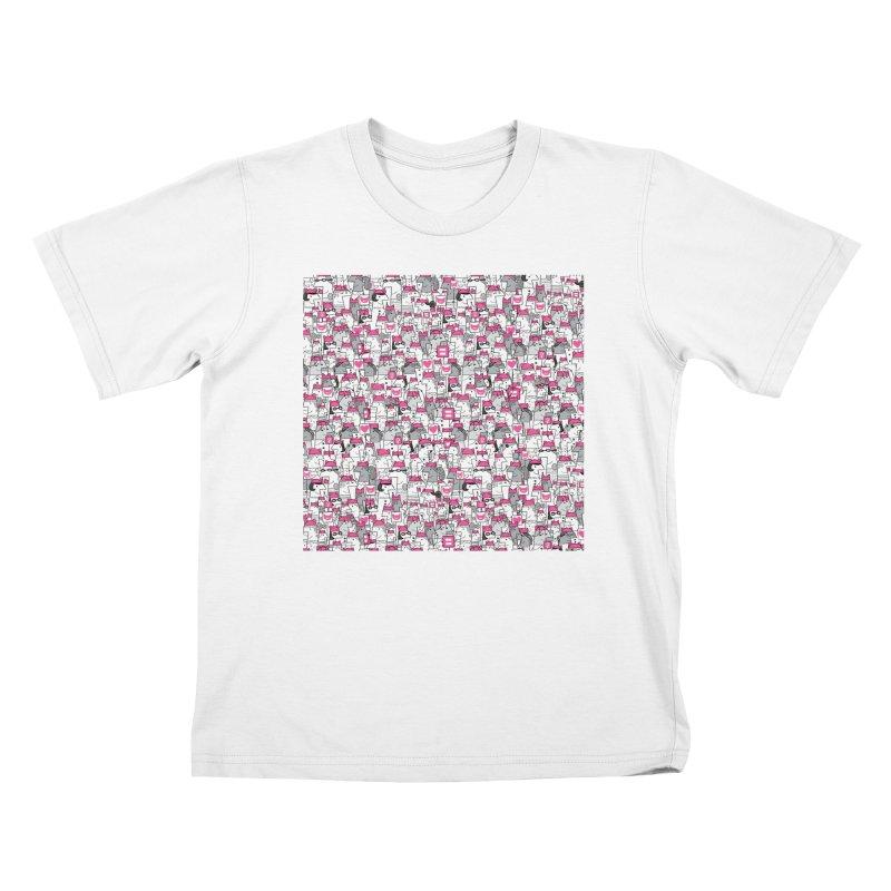 Pussy Pattern Kids T-Shirt by Melinda Beck
