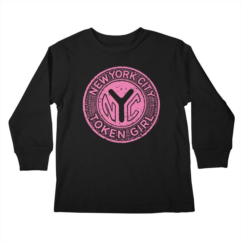 New York City Token Girl Kids Longsleeve T-Shirt by Melinda Beck