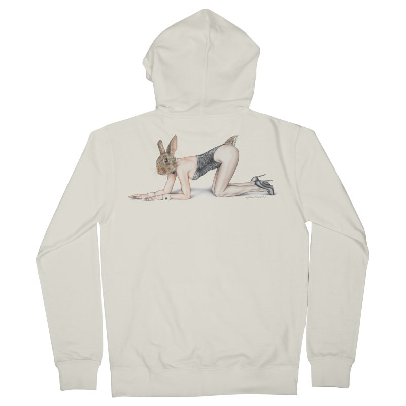 Gentlemen's Hare Men's French Terry Zip-Up Hoody by MelJo JoJo's Artist Shop