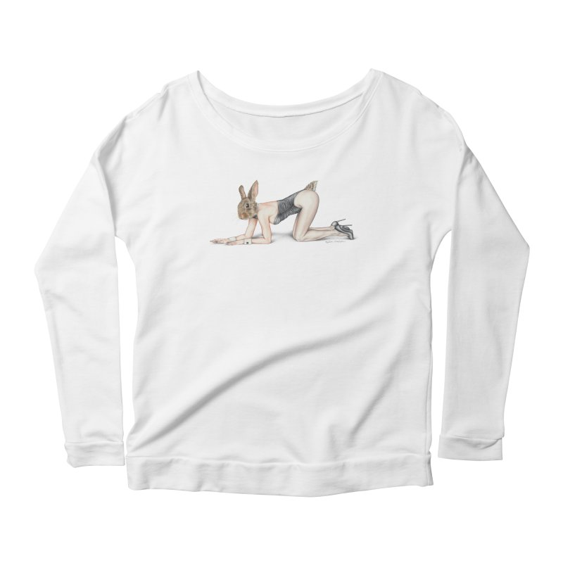 Gentlemen's Hare Women's Scoop Neck Longsleeve T-Shirt by MelJo JoJo's Artist Shop