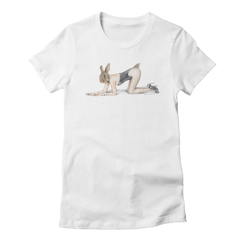 Gentlemen's Hare Women's Fitted T-Shirt by MelJo JoJo's Artist Shop