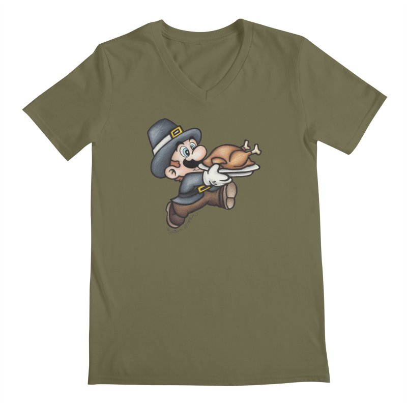 Super Pilgrim Men's V-Neck by MelJo JoJo's Artist Shop