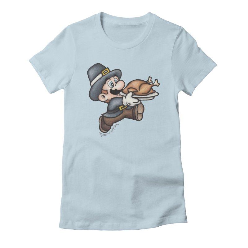 Super Pilgrim Women's Fitted T-Shirt by MelJo JoJo's Artist Shop