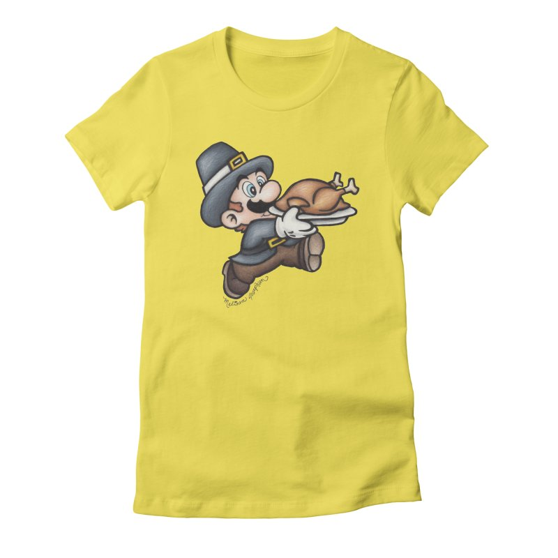 Super Pilgrim Women's Fitted T-Shirt by MelJo JoJo's Artist Shop