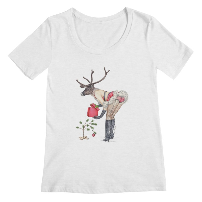 Santa's Secret Helper Women's Scoopneck by MelJo JoJo's Artist Shop