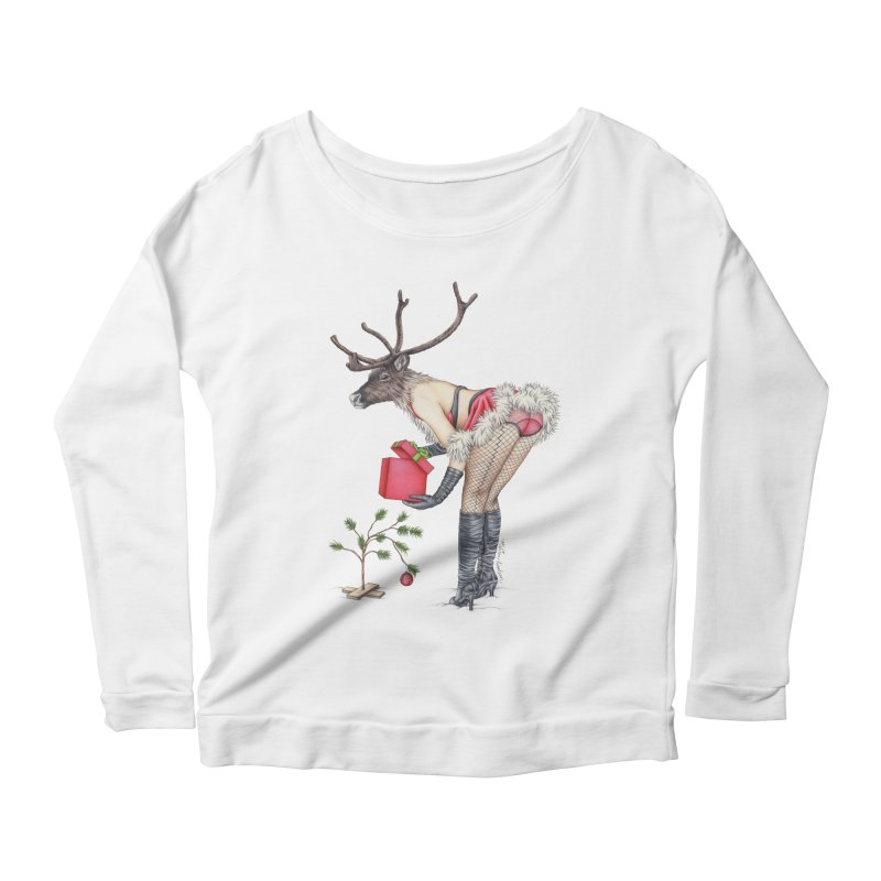 Santa's Secret Helper Women's Scoop Neck Longsleeve T-Shirt by MelJo JoJo's Artist Shop