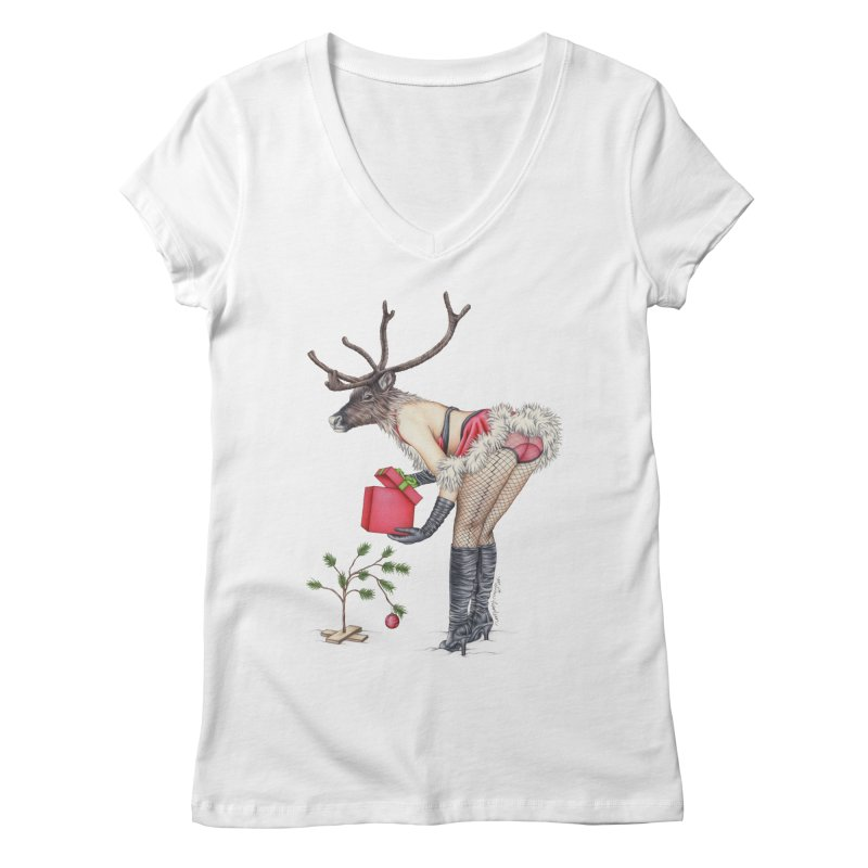 Santa's Secret Helper Women's V-Neck by MelJo JoJo's Artist Shop