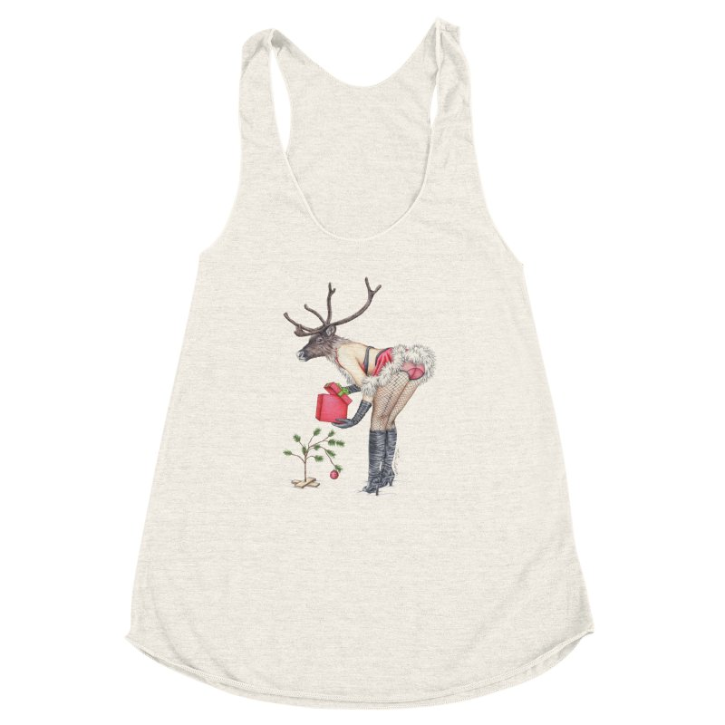 Santa's Secret Helper Women's Racerback Triblend Tank by MelJo JoJo's Artist Shop