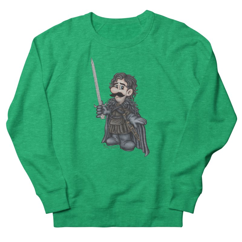 Bastard of the Mushroom Kingdom in Men's French Terry Sweatshirt Heather Kelly by MelJo JoJo's Artist Shop