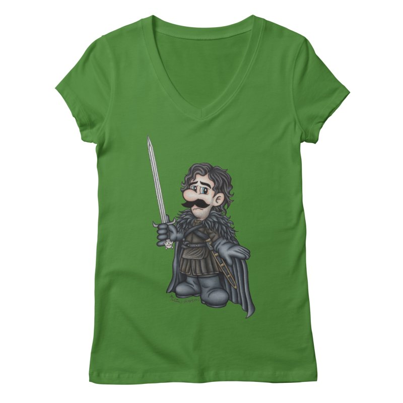 Bastard of the Mushroom Kingdom Women's V-Neck by MelJo JoJo's Artist Shop