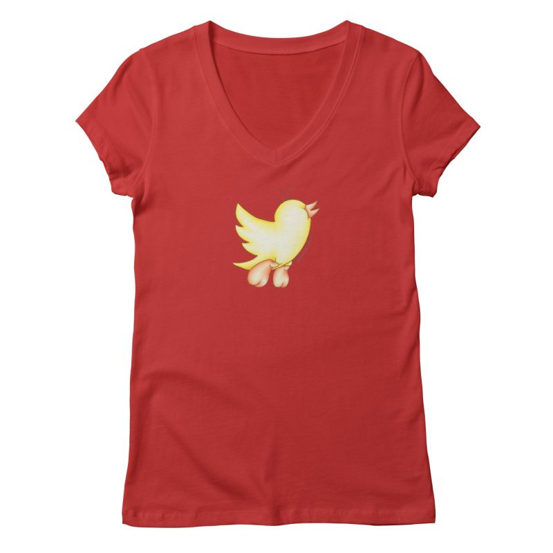 Tweeter Women's V-Neck by MelJo JoJo's Artist Shop