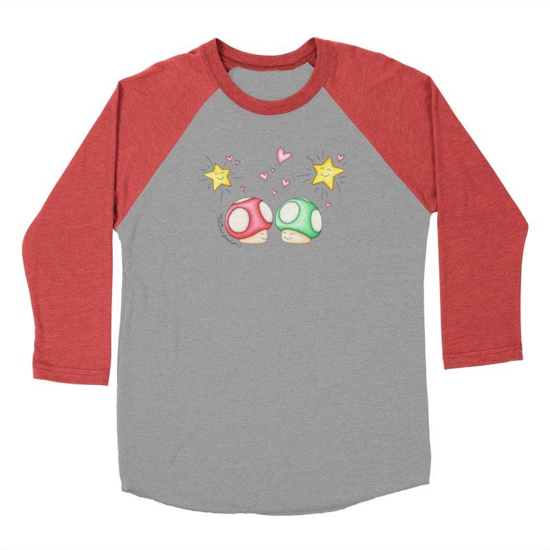 Mushroom Love Men's Baseball Triblend T-Shirt by MelJo JoJo's Artist Shop
