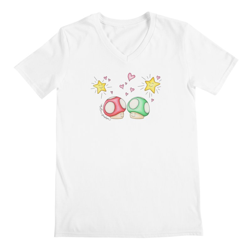 Mushroom Love Men's V-Neck by MelJo JoJo's Artist Shop