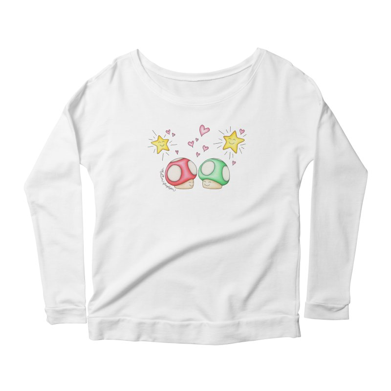 Mushroom Love Women's Scoop Neck Longsleeve T-Shirt by MelJo JoJo's Artist Shop