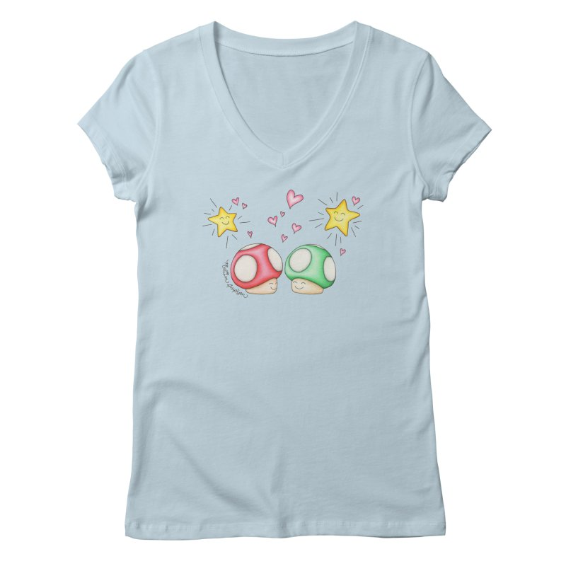 Mushroom Love Women's V-Neck by MelJo JoJo's Artist Shop