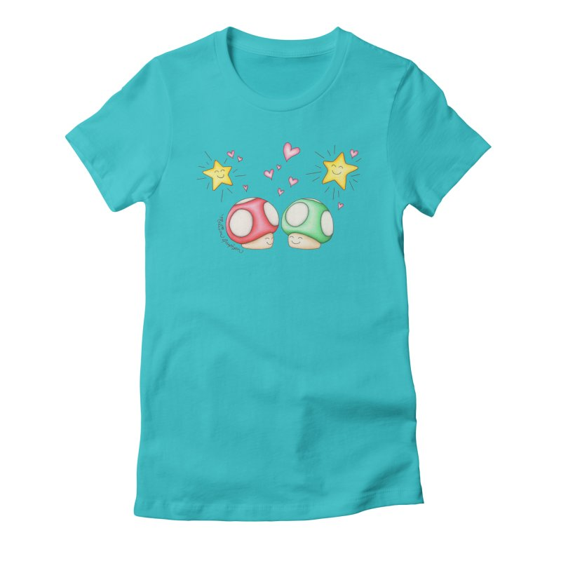 Mushroom Love Women's Fitted T-Shirt by MelJo JoJo's Artist Shop