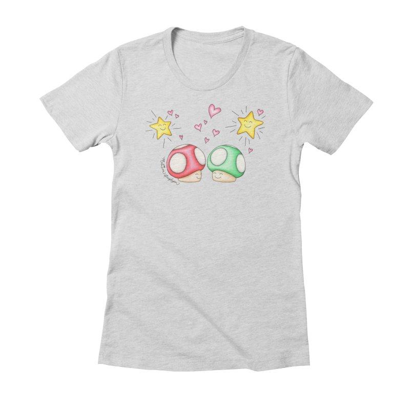 Mushroom Love Women's Fitted T-Shirt by MelJo JoJo's Artist Shop