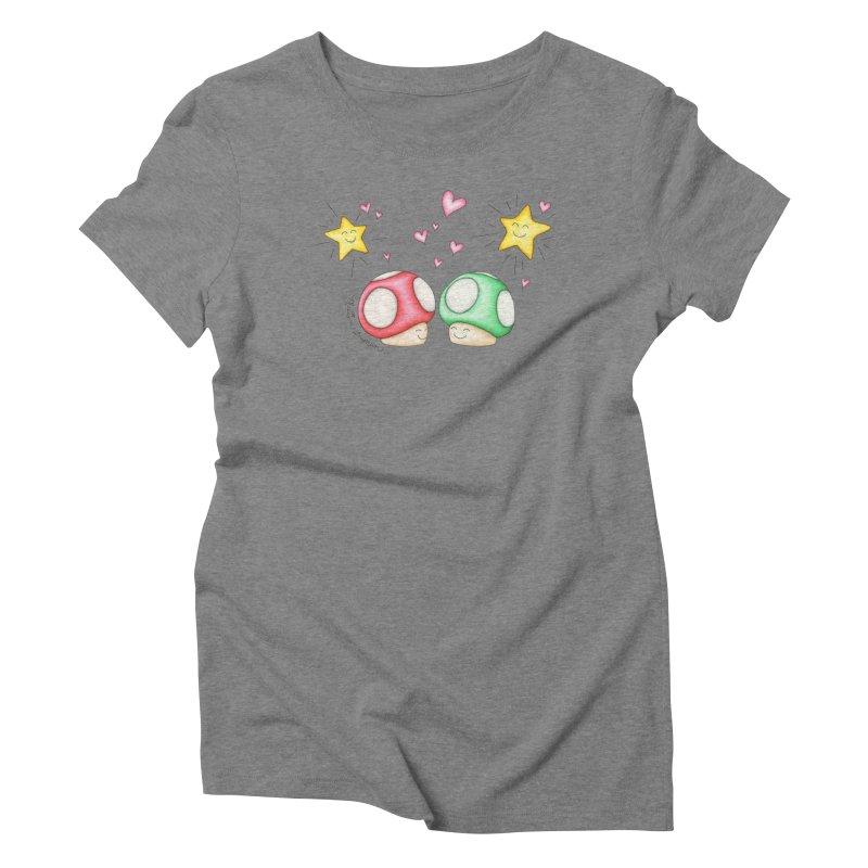 Mushroom Love Women's Triblend T-shirt by MelJo JoJo's Artist Shop